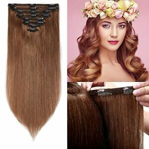 S-noilite 14inch 100% Real Human Hair Clip in Extension 8pcs Thickened Double We