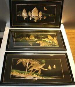 Vtg Asian / Oriental Bamboo Wood Flake Art Sale Boats Set of 3