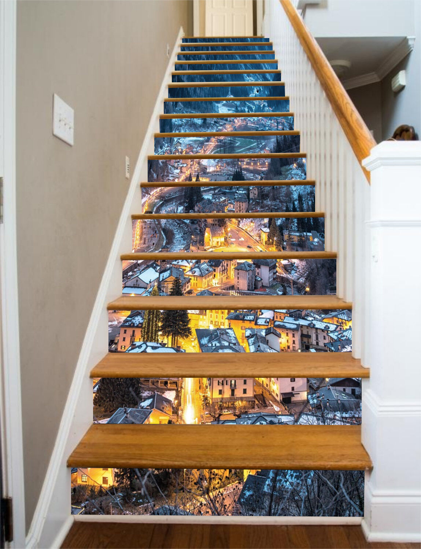 3D Stadt night Stair Risers Decoration Photo Mural Vinyl Decal WandPapier AU