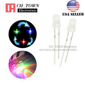 Active Components 1000pcs 5mm Rgb 2-pin Slow Flash Round Led Lamps Rainbow Blink Water Clear