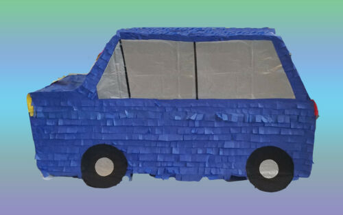 BLUE CAR BIRTHDAY PARTY PINATA FIESTA CARRO PULL STRING OR HIT NEW!