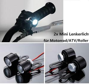 12v motorrad lenker licht led scheinwerfer zusatzscheinwerfer wei 2x atv quad ebay. Black Bedroom Furniture Sets. Home Design Ideas