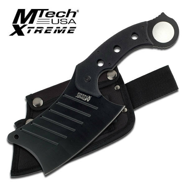 Mtech Xtreme 440C Black Full Tang Meat Cleaver Knife Knives G10 Handle #8097