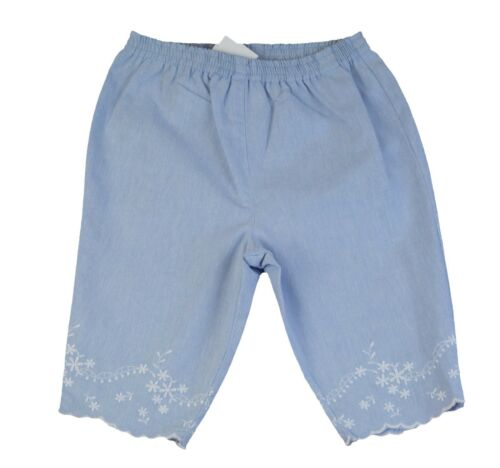 JACADI Girls Tracheal Chambray Elastic Waist Cotton Pants Size 18 Months NWT $34