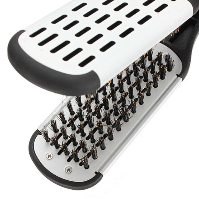 Top Pro Hairdressing Straightener Hair Straightening Double Brush Comb Clamp