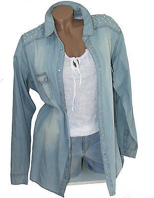 *NEU* Damen Hemdbluse Jeansbluse Jeans Hemd Bluse Washed Denim Blue Bau PERLEN