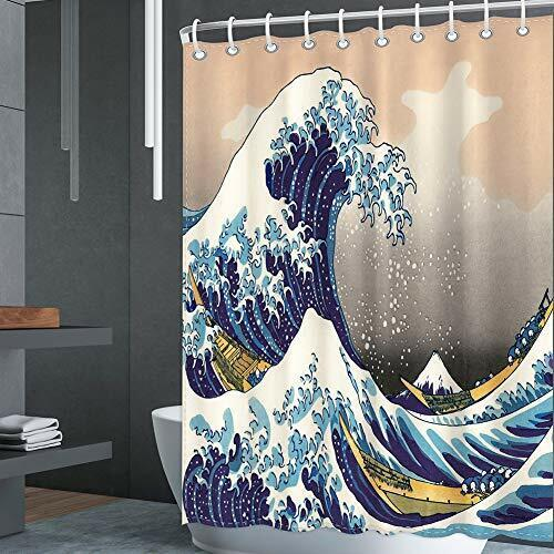 Polyester Fabric Shower Curtain Set with 12 Hooks Decorative Bath