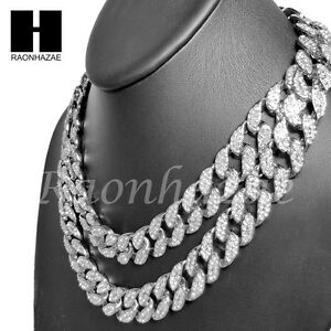 Iced-Out-Rhodium-PT-15mm-8-5-034-24-034-Miami-Cuban-Choker-Chain-Necklace-Bracelet