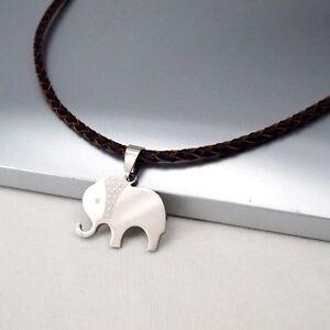 Silber-Tier-Elefanten-Edelstahl-Anhaenger-Leder-Halskette-Geflochten-Damenkette