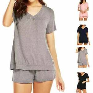 2Pcs-Women-Milk-Silk-Short-Sleeve-Night-Sleepwear-Nightwear-Shorts-Pajamas-Set