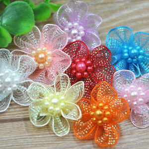 40pcs-Organza-Ribbon-Flowers-Bows-w-Beads-Appliques-Wedding-Craft-E11