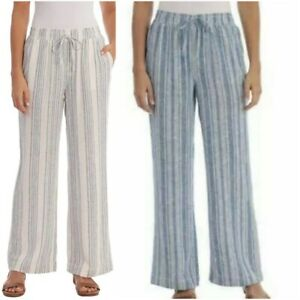 Briggs Womens Linen Blend PullOn Pants Pockets & Drawstring Pic Sz & Co 1372200