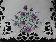 "16x72"" Embroidered Purple Floral Table Dining Runner TableClothes Cutwork mats"
