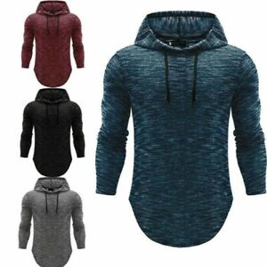 Men-039-s-Basic-Long-Sleeve-Hoodie-Hooded-Tops-Shirts-Slim-Muscle-Casual-Fit-T-shirt