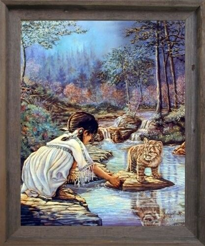 Indian Girl with Cub J Chardon Native American Wall Decor Art Framed Picture