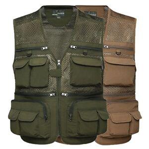 Men-039-s-Multi-Pockets-Military-Tactical-Mesh-Vest-Fishing-Hunting-Waistcoat-L-4XL