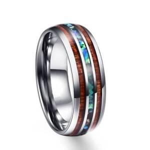 8mm-Men-Tungsten-Carbide-Rings-Hawaiian-Koa-Wood-Abalone-Shell-Jewelry-Size-7-12