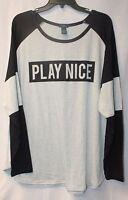 Cute Womens Plus Size 3x Gray & Black Play Nice Striped Sleeve Tee Shirt Top