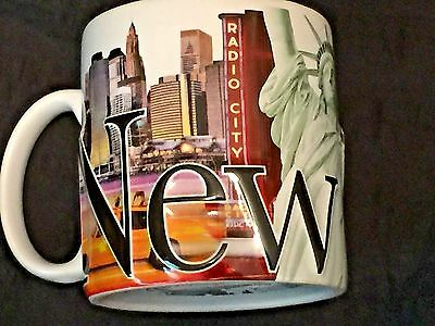 New York 3D Raised Coffee Mug Tea Cup Statue Liberty Radio City Americaware 2007