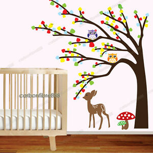 Image Is Loading Owl Tree Deer Wall Stickers Woodland Animal Art  Part 65