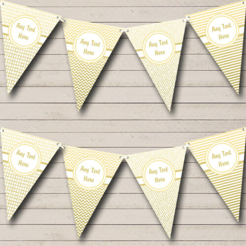 Party Banner Bunting Elegant White And Gold Personalised Wedding Anniversary