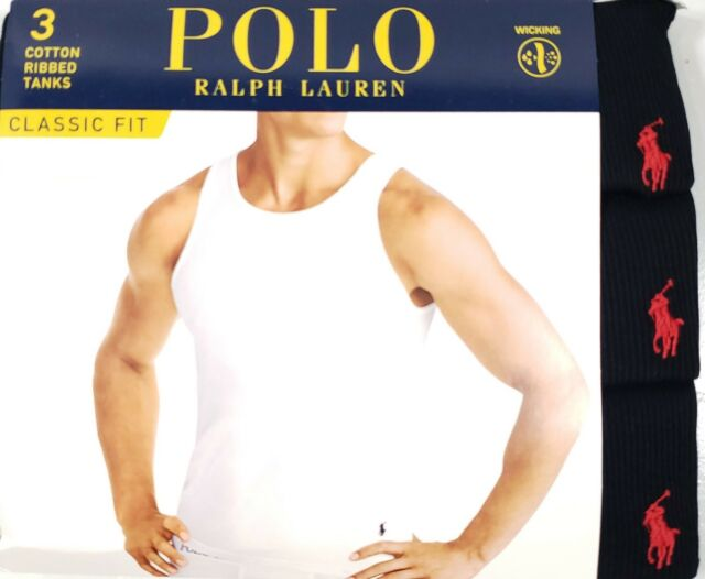 Cotton Polo Lauren Ribbed Fit Ralph Moisture Tank Black Pack Classic 3 Wicking stdQrh