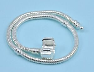 silver plated charm bracelet snake chain with clip lock. Black Bedroom Furniture Sets. Home Design Ideas