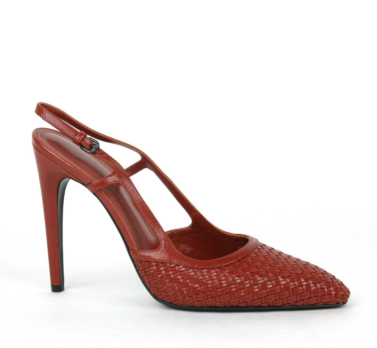 840 New Bottega Veneta Woven Leather Slingback Heel Sandal Red 347044 6329