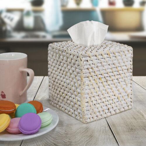 Hand Woven Square Tissue Box Cover HolderRustic Wicker Straw Tissue Paper Box