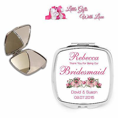 Personalised Bridesmaid Compact Mirror Wedding Favour Thank You Keepsake Gift.