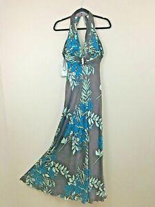 Vestido Nina Halter De Espalda Seda Austin Largo Marrón Azul iOZPkXTu