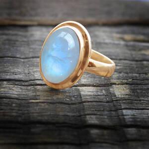 Blue-Fire-Natural-Rainbow-Moonstone-Gemstone-14K-Rose-Gold-Wedding-Ring-Size-7