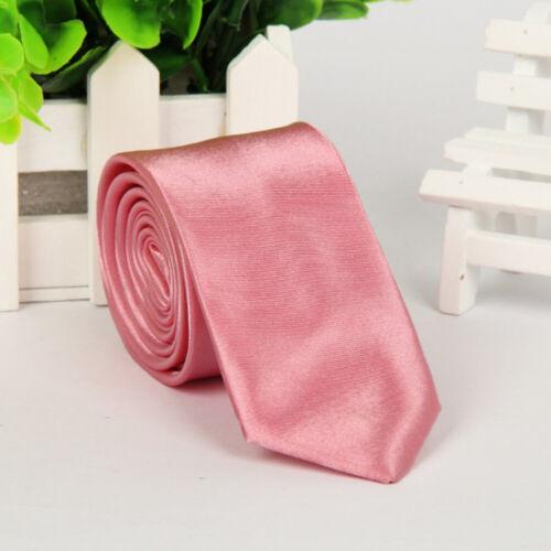Mens Fashion Casual Tie Solid Color Skinny Necktie Formal Wedding Party Neck Tie