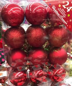 60mm-Shatterproof-Decorated-Christmas-Balls-24-ct-Red