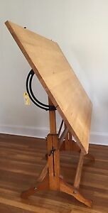 Image Is Loading ANTIQUE CAST IRON And WOOD DRAFTING TABLE VINTAGE