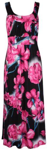 Neue Frauen Plus Size Saisonblumendruck lange Maxi-Kleid 42-56