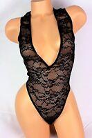 Victoria's Secret Lingerie Teddy Bodysuit Black Lace S269