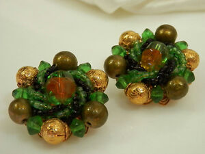 Gorgeous-Green-Givre-Glass-Vintage-1950s-Earrings-1065H