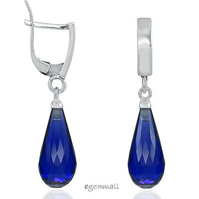 Sterling Silver Drop Hoop Birthstone Earrings with Synthetic Sapphire #53145