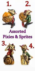 Details about CHOICE OF 4 PIXIES or SPRITES for FAIRY GARDEN w/ ACORN NUTS,  SHELL, & STUMP