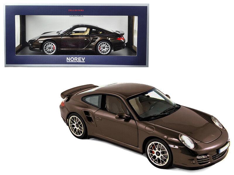 1 18 Norev 2010 Porsche 911 Turbo Coche Modelo Diecast Marrone Metálico Marrone 187622