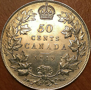 1919-CANADA-SILVER-50-CENTS-FIFTY-CENTS-HALF-DOLLAR-Uncirculated-details