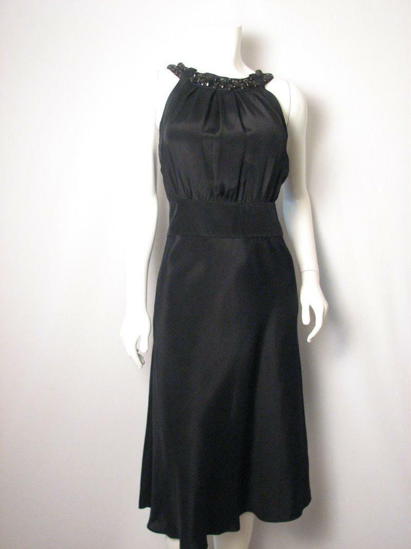 Banana Republic Silk Blend schwarz Embellished Dress 8 NWT