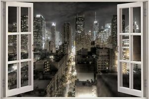 Huge-3D-Window-view-Fantasy-New-York-City-Wall-Sticker-Decal-Wallpaper-684