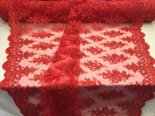 Mesh lace fabric Corded Flowers Embroider With Sequins Red by the yard.