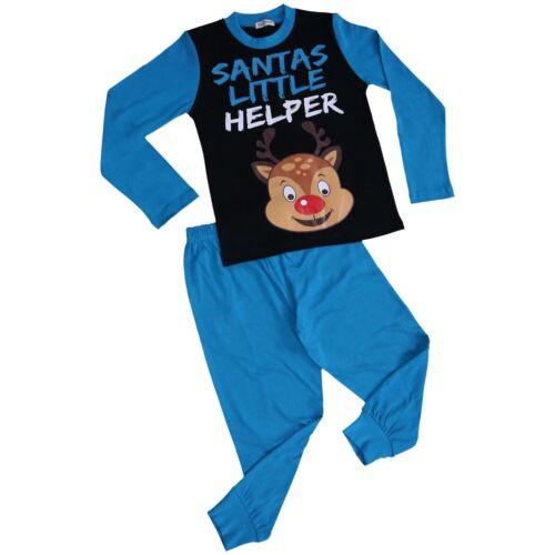 Kids Boys Girls Pyjamas Reindeer Rudolph Santas Little Helper Blue Xmas Pjs 2-13