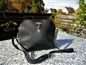 Heine-Umhaenge-Handtasche-schwarz-mit-goldenem-mit-Reh-Bambi-NEU