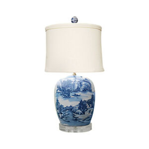 Blue and White Blue Willow Porcelain Ginger Jar Table Lamp 27 eBay