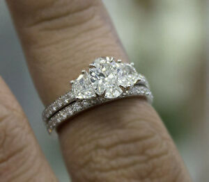 2ct-Natural-Oval-Cut-3-Stone-Half-Moon-Pave-Diamond-Engagement-Ring-Set-GIA