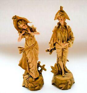 Antique-Ernst-Wahliss-Turn-Wien-Austrian-Porcelain-Figurine-Pair-circa-1900
